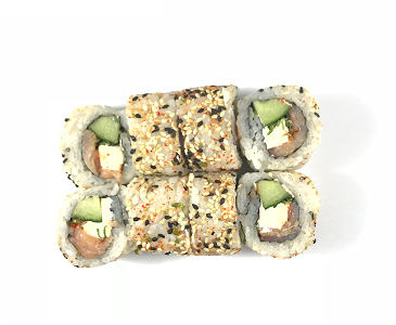 Foto Hot smokey salmon roll 8st.